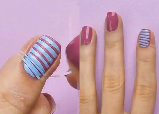 Step 3:待甲油吹乾後,拆走指甲上的牙線,便會出現雙色間紋甲款。頻色配搭完全自家決定,好玩又易襯夏日造型。(互聯網)