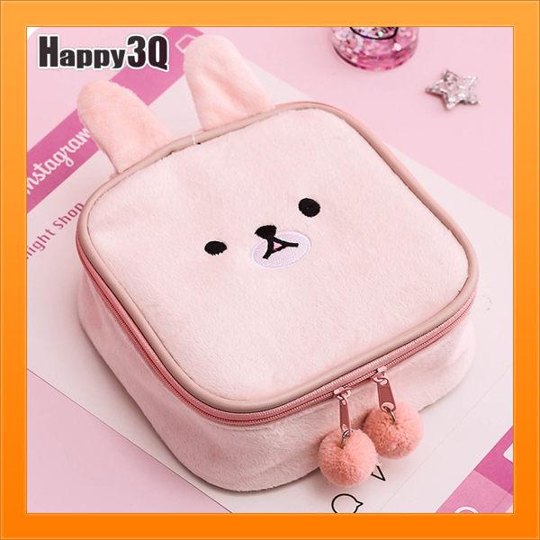 兔子造型毛絨飾品包貓造型化妝品包小物包少女心保養品包-白/灰/粉/棕【AAA4556】預購