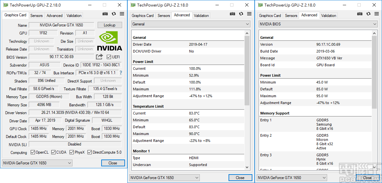 ROG STRIX GTX1650 O4G Gaming 的 Power Limit 調整範圍為 45W~95W,Temperature Limit 則是 65℃~90℃