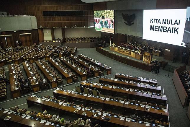 Suasana Sidang Paripurna ke-3 tahun 2018-2019 di kompleks Parlemen Senayan, Jakarta, Rabu (29/8/2018). ANTARA FOTO/Aprillio Akbar/pd/18.