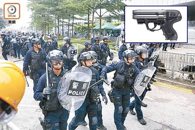 有指警方引入最新型的胡椒彈手槍(小圖示)分配給速龍小隊使用。