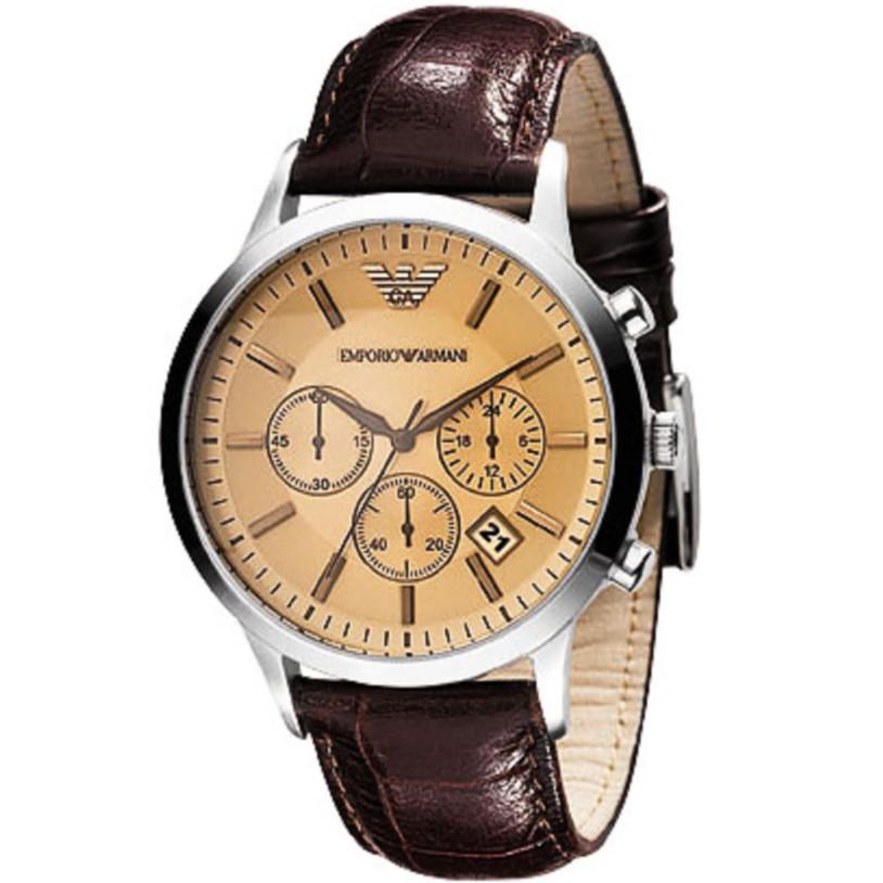 ARMANI 經典三眼計時皮帶腕錶-香檳 AR2433