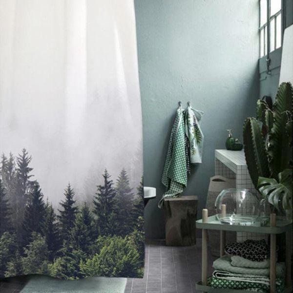 北歐ins大自然防水防霉加厚浴室簾子高檔不透門簾更衣簾可