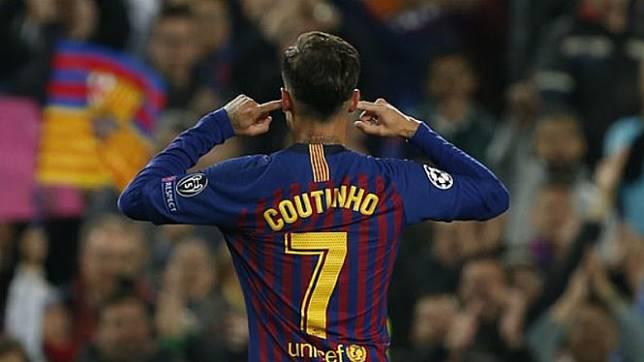 Selebrasi kontroversial gelandang Barcelona, Philippe Coutinho