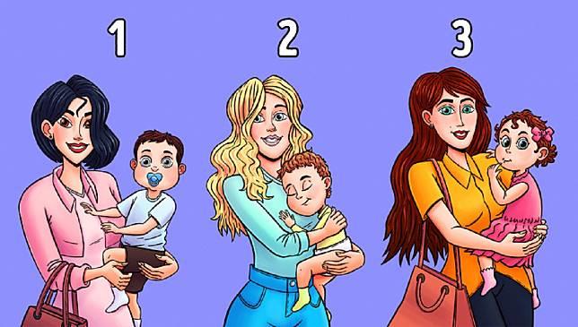 ▲心理測驗!直覺選出誰抱的不是自己小孩?測你的「社交人格」(圖/翻攝自brightside.me 網站)
