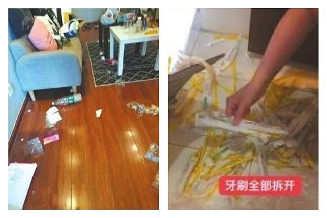 ▲ 100 多隻牙刷全被拆開扔在地上。(合成圖/翻攝自華西都市報)