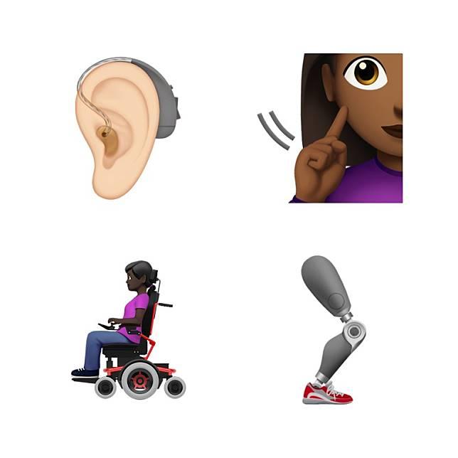 全新表情符號頌揚多元化,包括戴上助聽器的耳朵、輪椅及及義肢等。(互聯網)