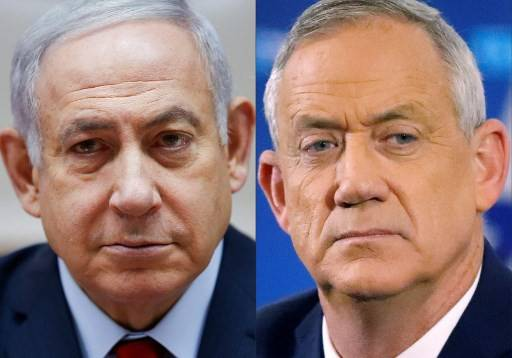 This file combo image created on April 2, 2019 shows Israeli Prime Minister Benjamin Netanyahu (L) attending the weekly cabinet meeting at the Prime Minister's office in Jerusalem on December 9, 2018 and retired Israeli general Benny Gantz, one of the leaders of the Blue and White (Kahol Lavan) political alliance, at a press conference in Tel Aviv on April 1, 2019. Netanyahu and his main opponent Gantz sought to galvanise supporters today on the eve of a tense election with the political fate of the country's longest-serving premier in the balance.