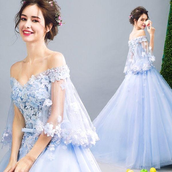 禮服洋裝 花仙子一字領藍色新娘結婚敬酒服婚紗晚宴年會257 - 歐美韓