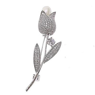 韓國手工鑲嵌鬱金香全水鑽低調華麗胸針