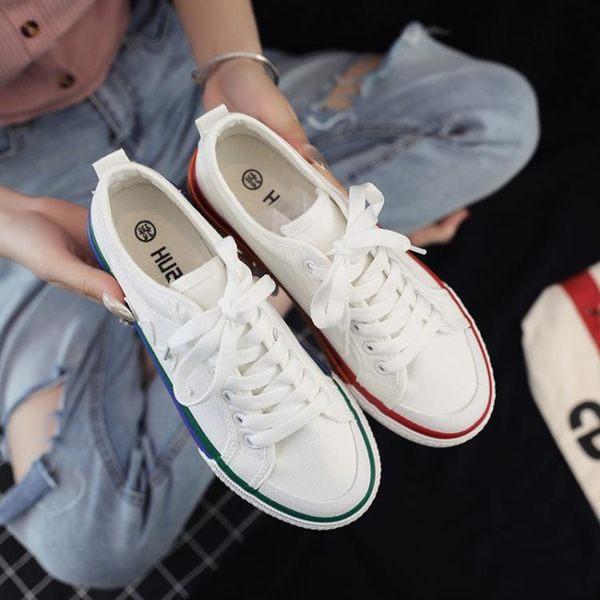 帆布鞋女潮鞋新款夏季百搭小白球鞋學生板鞋拼色布鞋透氣單鞋 -炫科技