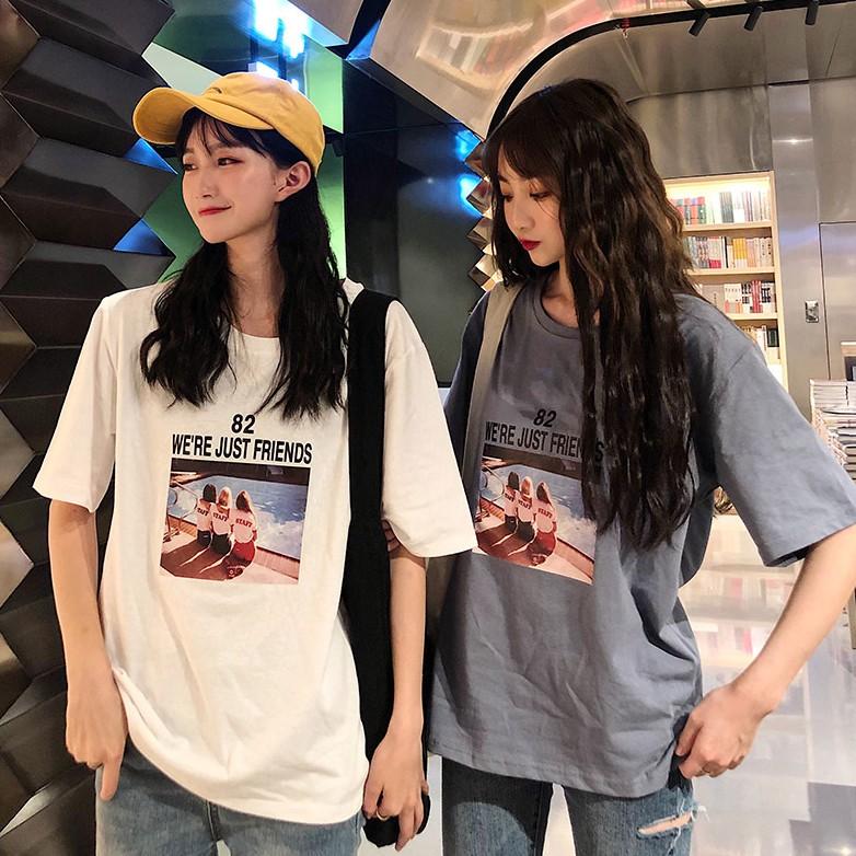 韓版印花T恤 學院風寬鬆休閒短袖T恤 春夏新款圓領顯瘦百搭上衣閨蜜半袖T恤衫