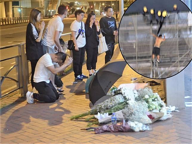 有市民帶同白花到現場悼念。小圖為墮樓一刻。