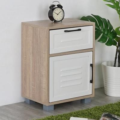 鋼製X木製,異材質搭配 一抽屜一門櫃,多元收納 百葉門片設計,透氣通風