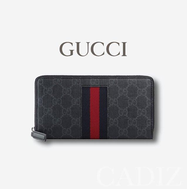 預購 義大利正品 GUCCI GG Supreme Web zip around wallet灰色印花復古拉鍊長夾408831