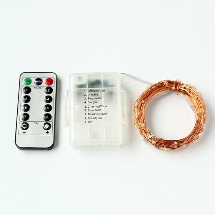 燈串10米100燈(四彩)【SG462】萬聖聖誕裝飾八功能遙控防水電池盒銅線燈串彩燈BOYBOY