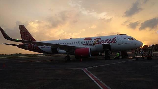 Pesawat Batik Air di Bandara Adi Sucipto, Yogyakarta. (Gideon/Liputan6.com)