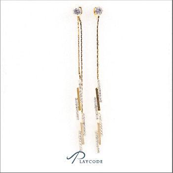 鋯石垂掛耳環 正韓飾品現貨 金色