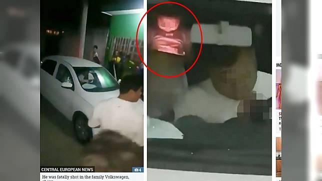 女童目睹父親被槍殺,竟在後座淡定玩平板。圖/翻攝自太陽報