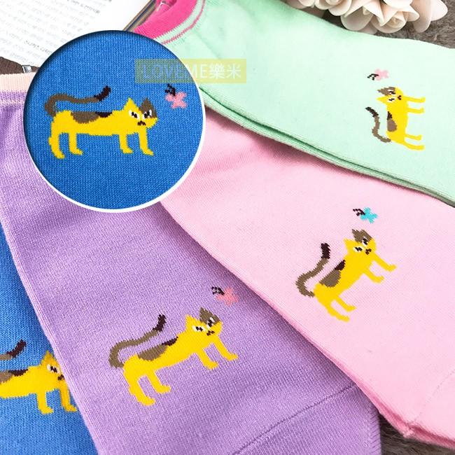 台灣 貝柔 韓系 好奇貓萊卡船型襪 6色 隨機出貨 不挑款 毛小孩 繽紛 襪子