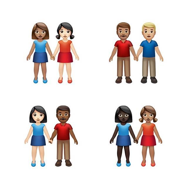 表情符號將迎來更多「拖手」圖案,以鼓勵包容和多元化。(互聯網)