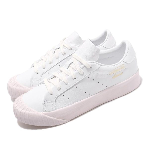 adidas 休閒鞋 Everyn W 白 金 復古奶油底 金標 厚底 餅乾鞋 基本款 女鞋【PUMP306】 DB2740