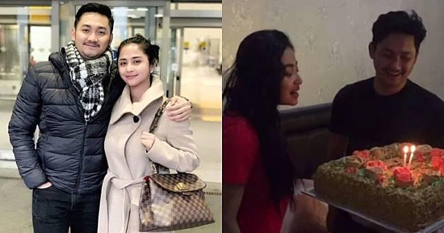 Momen ultah pernikahan Dewi Perssik & Angga, kuenya curi perhatian