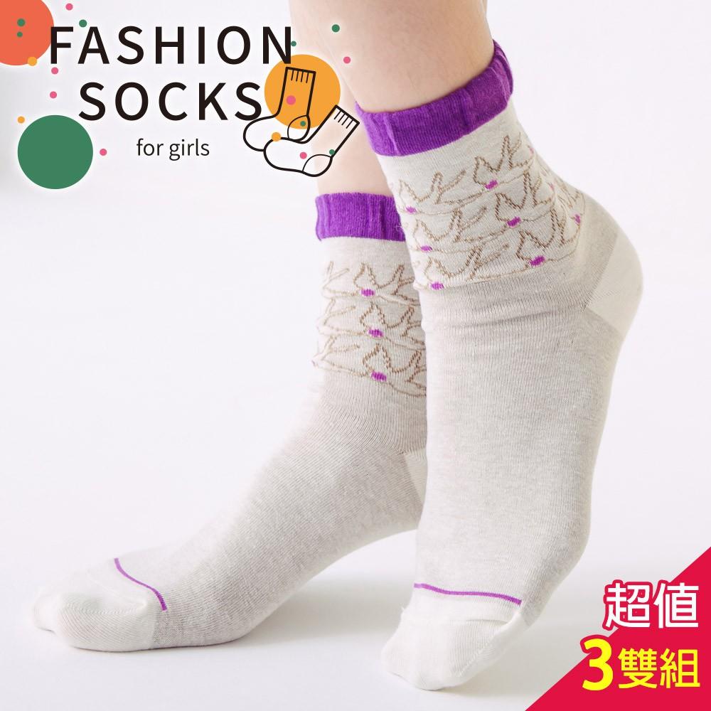 蒂巴蕾 少女襪 棉襪 Fashion socks-燕子-3入組