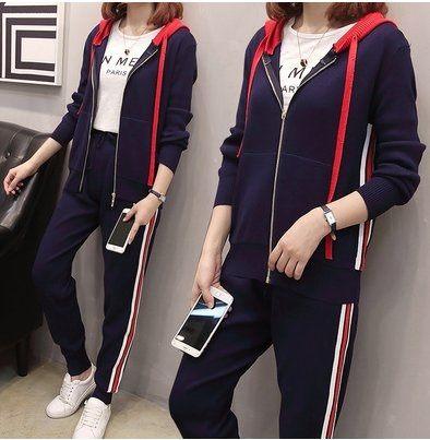 大尺碼 套裝 二件套 休閒服 運動服L-4XL顯瘦時髦針織兩件套3F089-A.1002胖胖唯依