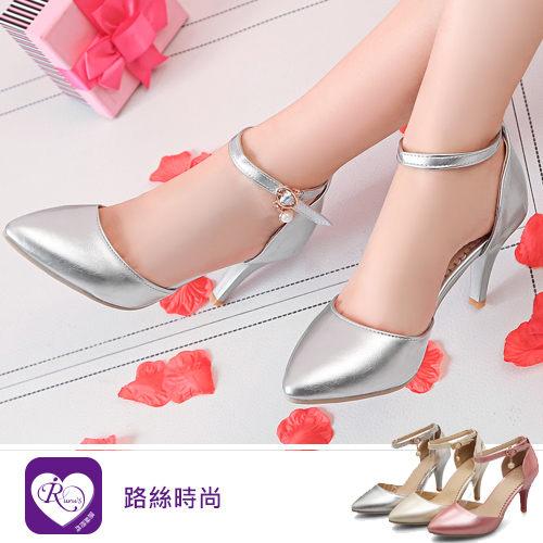 韓系OL雜誌款一字扣環珍珠吊飾尖頭高跟包鞋/3色/35-43碼 (RX1024-612-2) iRurus 路絲時尚