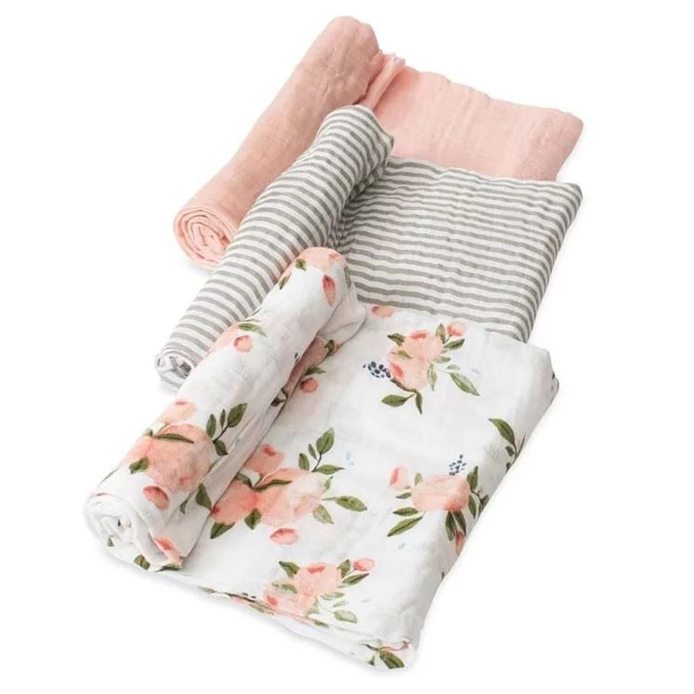 美國 Little Unicorn - 純棉紗布巾三入組-水彩玫瑰