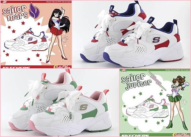 (上)Sailor Mars款式以紫紅色系搭配白色鞋身;(下)Sailor Jupiter款式採用了浪漫的藤蔓綠與玫瑰粉紅。(互聯網)