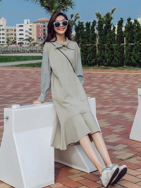 衛衣連身裙年流行早初秋季新款春裝網紅女裝長袖魚尾長裙子潮