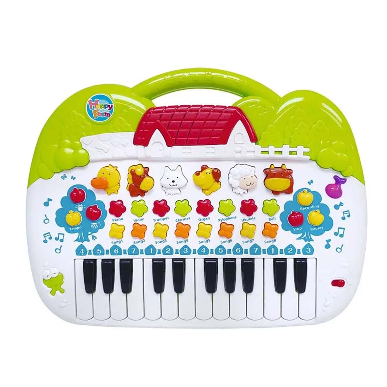 可錄下彈奏樂曲!動物叫聲可以變成音階彈奏!燈光隨節奏快慢閃爍!;孩子最愛的動物琴,有豐富的音效、歡樂的音樂搭配小電子琴彈奏。從2歲開始幫助孩子發展肢體動作、音樂律動、穩定情緒,訓練音感的同時開心玩樂!