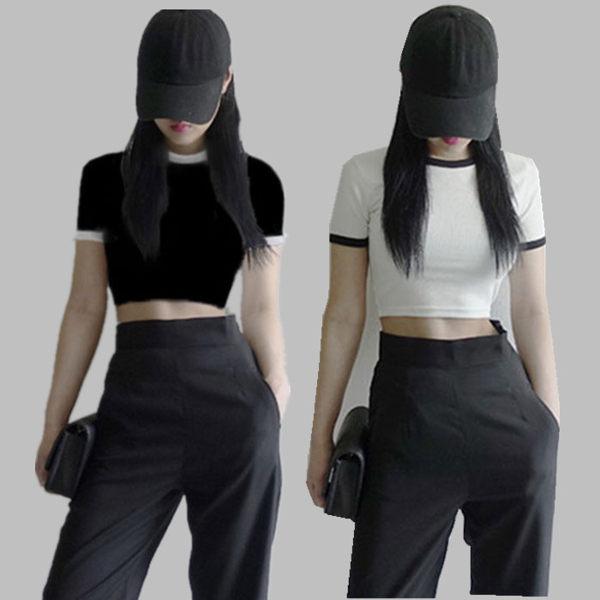 短板上衣 夏季新款韓版白色短款短袖t恤女露臍高腰性感純棉