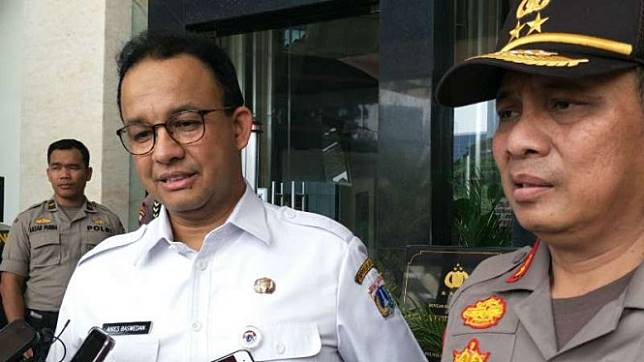 Gubernur DKI Anies Baswedan dan Kapolda Metro Jaya Irjen Pol Gatot Edy Pramono.