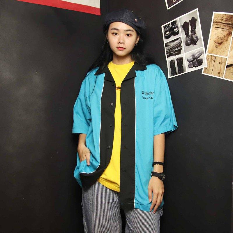 Tsubasa.Y 古著屋012藍黑色保齡球衫, bowling shirt
