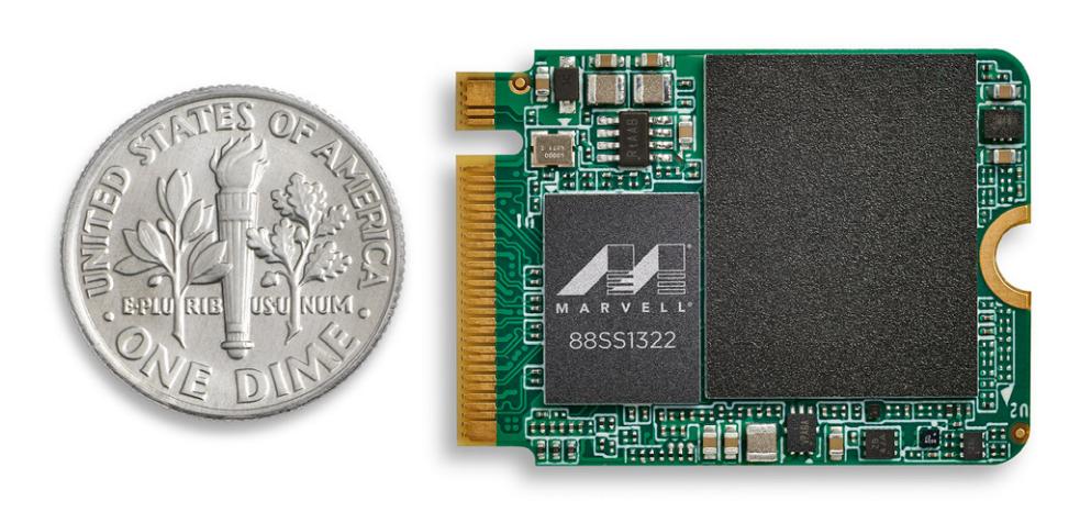 ▲ 88SS1321 封裝尺寸為 12 x 13.5(mm),88SS1322、88SS1323 則為 8 x 11(mm),3 者均支援 HMB(Host Memory Buffer)、後 2 者無須安裝 DRAM,因此能夠製作成 M.2 2230、2242 小型尺寸,運作所需電力低於 2W。