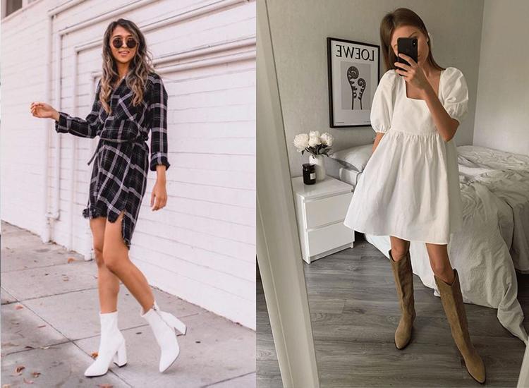 洋裝 短靴穿搭 春季穿搭 白靴 西部靴 長靴 高跟靴 女鞋