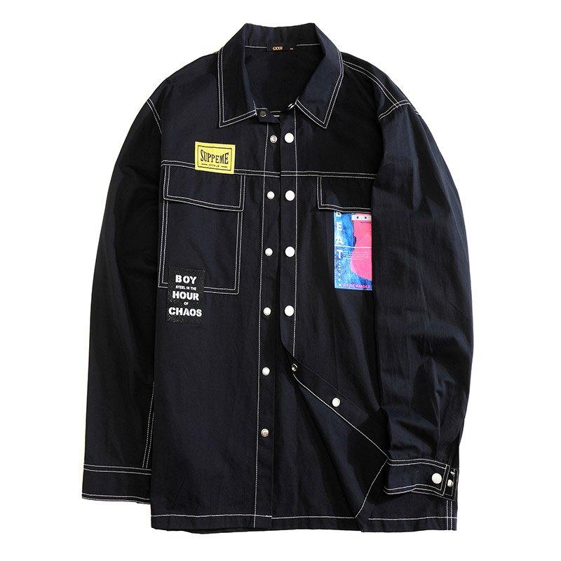 中大尺碼男裝2XL-7XL 秋冬新品 黑色個性長袖襯衫