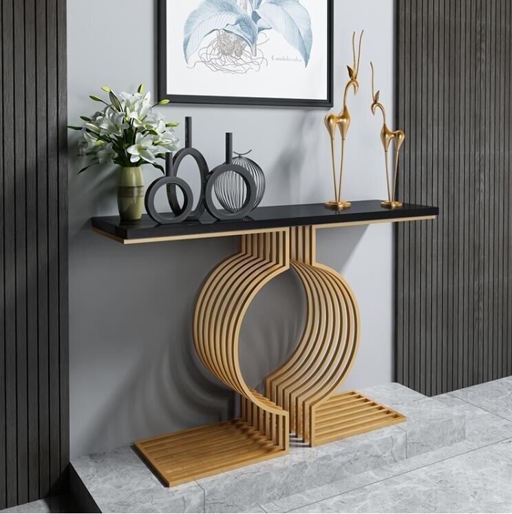 玄關桌櫃 現代簡約玄關桌鐵藝客廳裝飾玄關台實木金色玄關櫃北歐隔斷靠牆 3色QM 快速出貨
