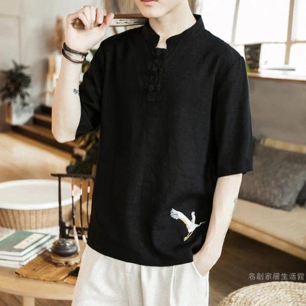 2019夏季新品中國風男裝刺繡復古短袖t恤寬鬆棉麻五分袖亞麻半袖