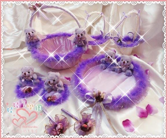 娃娃屋樂園~紫色天使情人紫色喜糖籃8件組 每組1800元/喜糖籃/簽名筆/婚禮小物/二次進場