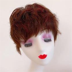 【米蘭精品】整頂假髮真髮絲短假髮-手織自然挑染捲髮女假髮2色73vr9