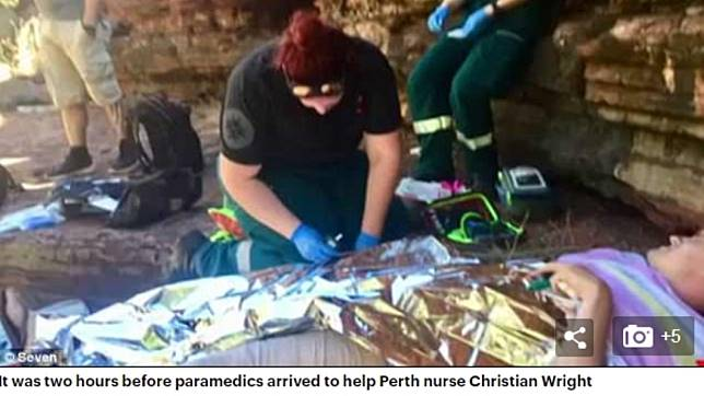 救護人員為賴特急救。圖/翻攝自英國每日郵報