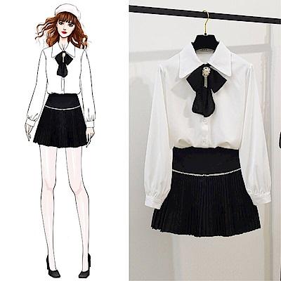 DABI 韓國風領帶襯衫百褶裙釘珠套裝長袖裙裝