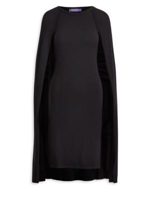 Cape dress in luxurious wool-blend; Roundneck; Long cape sleeves; Pullover style; About 40