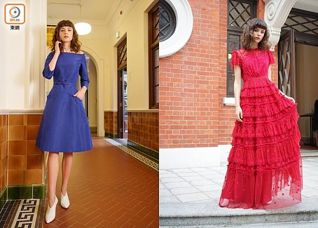 (左)Oscar de la Renta藍色露肩真絲連身裙、(右)Needle & Thread紅色喱士長裙(胡振文攝)
