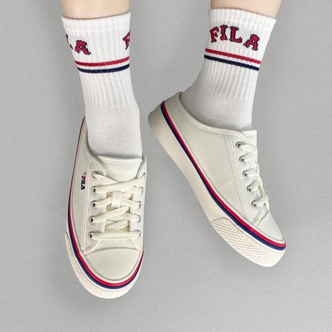 FILA SCANLINE MULE 帆布穆勒鞋-米白 4-C622V-100