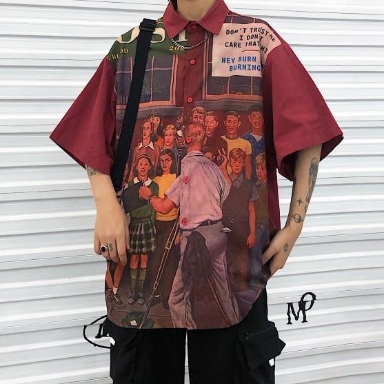 【K-2】OLDSCHOOL 美式 老學校 TRAPBAE 短袖襯衫 花襯衫 男女不拘 襯衫 復古 古著